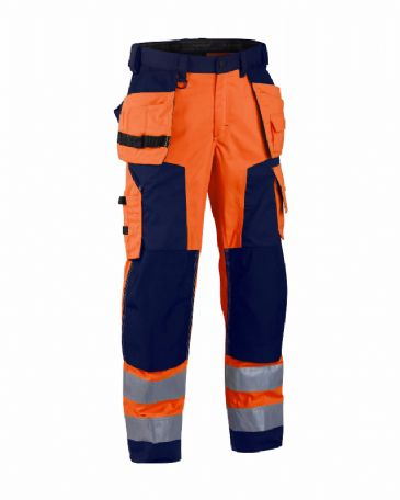 Blaklader 1568 High Visibility Craftsman Trousers (Orange/Navy Blue)